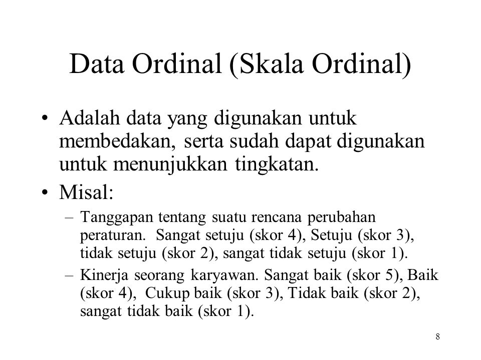 Data Ordinal (Skala Ordinal)