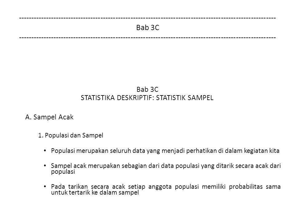 STATISTIKA DESKRIPTIF: STATISTIK SAMPEL