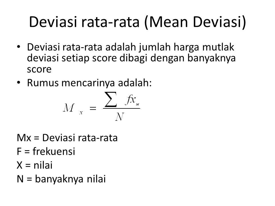 Deviasi rata-rata (Mean Deviasi)