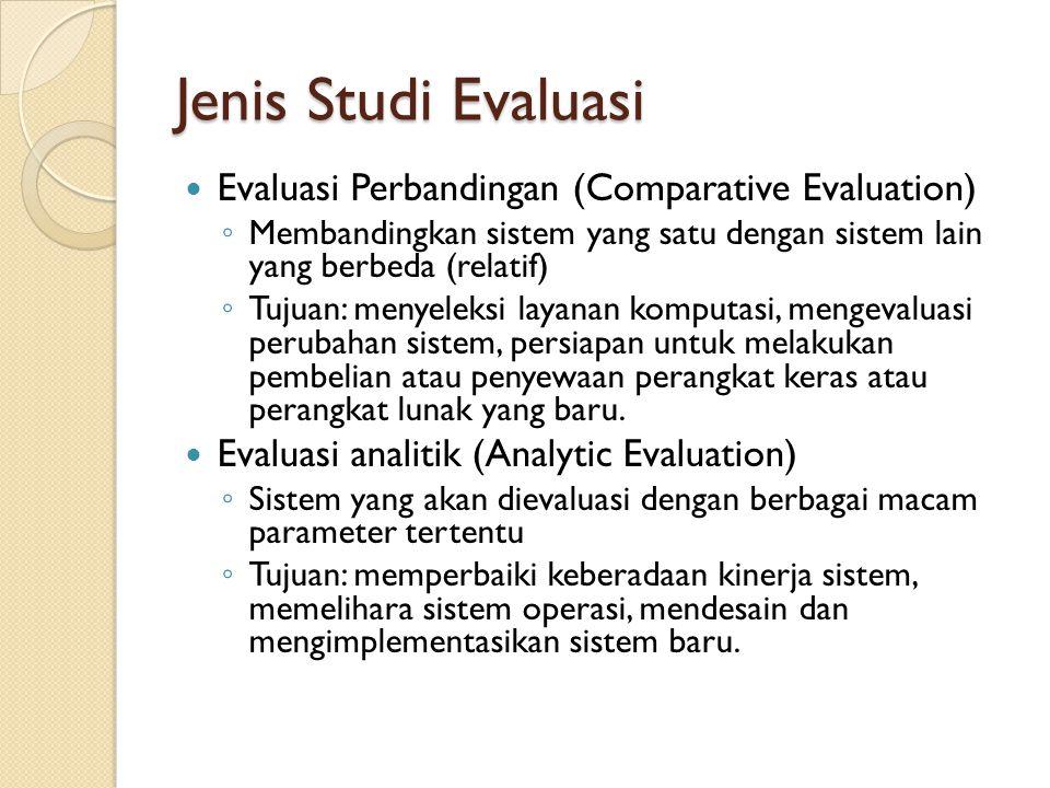 Jenis Studi Evaluasi Evaluasi Perbandingan (Comparative Evaluation)