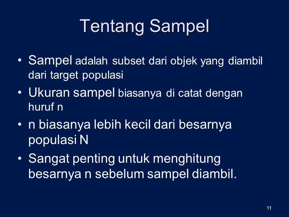 Tentang Sampel Sampel adalah subset dari objek yang diambil dari target populasi. Ukuran sampel biasanya di catat dengan huruf n.