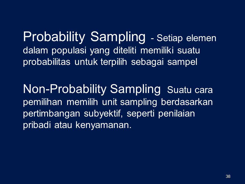 Probability Sampling - Setiap elemen dalam populasi yang diteliti memiliki suatu probabilitas untuk terpilih sebagai sampel