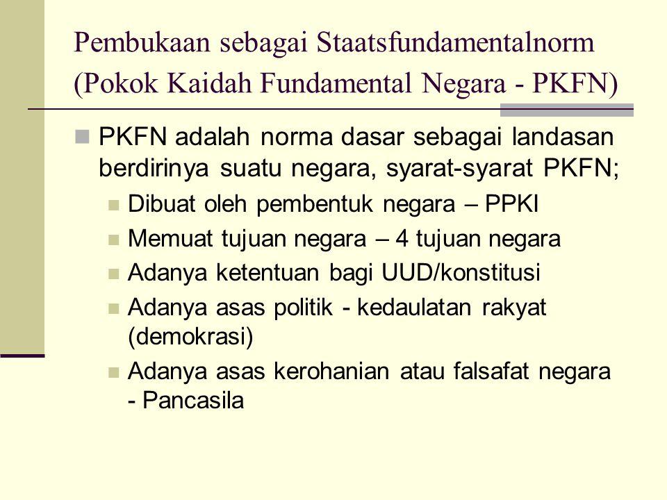 Pembukaan sebagai Staatsfundamentalnorm (Pokok Kaidah Fundamental Negara - PKFN)