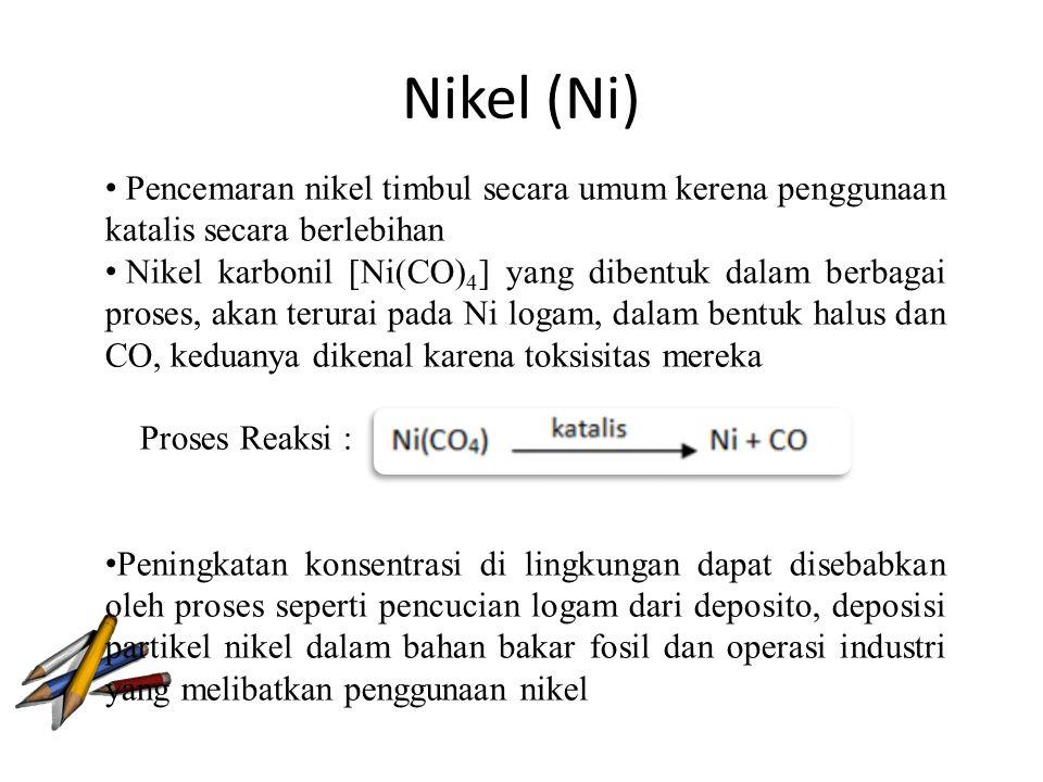 Nikel (Ni) Pencemaran nikel timbul secara umum kerena penggunaan katalis secara berlebihan.