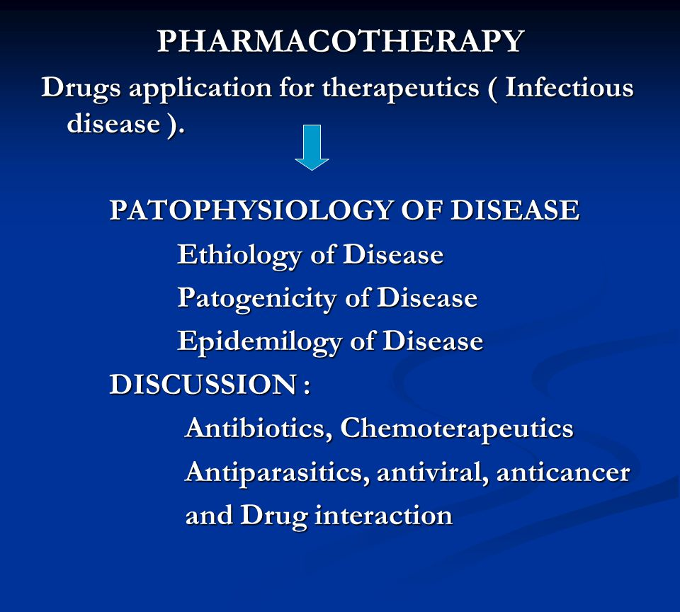 PHARMACOTHERAPY Drugs application for therapeutics ( Infectious disease ). PATOPHYSIOLOGY OF DISEASE.