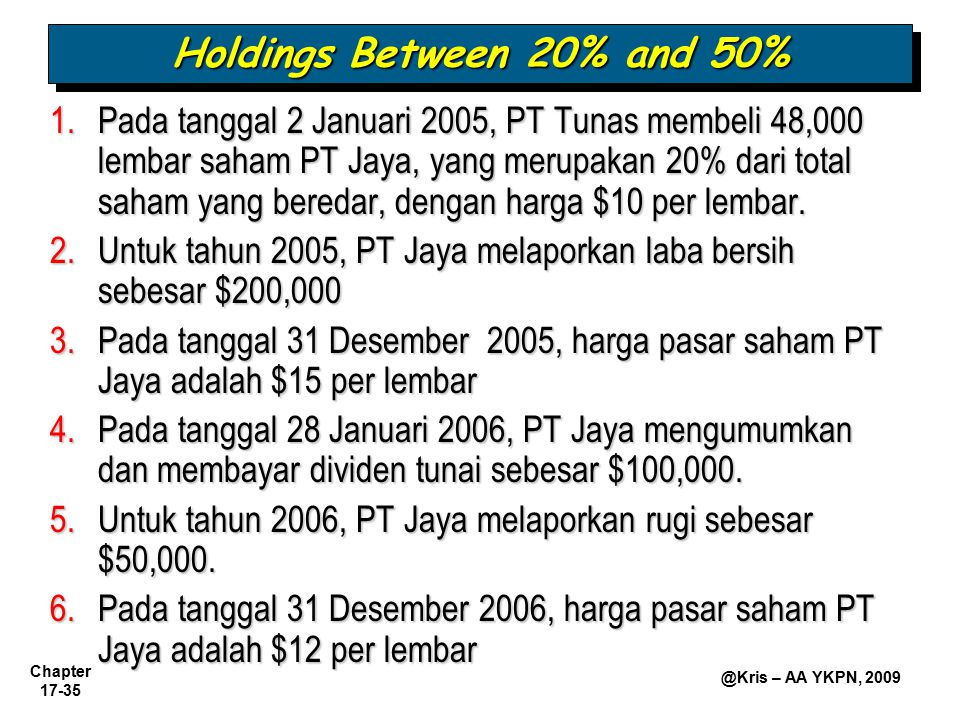 Holdings Between 20% and 50%