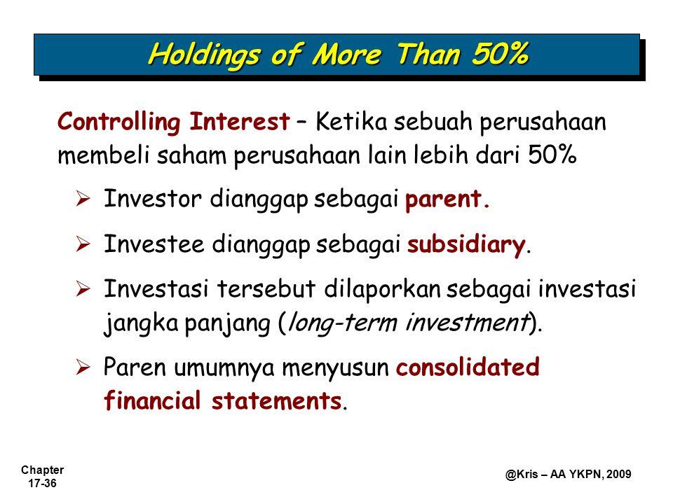 Holdings of More Than 50% Controlling Interest – Ketika sebuah perusahaan membeli saham perusahaan lain lebih dari 50%