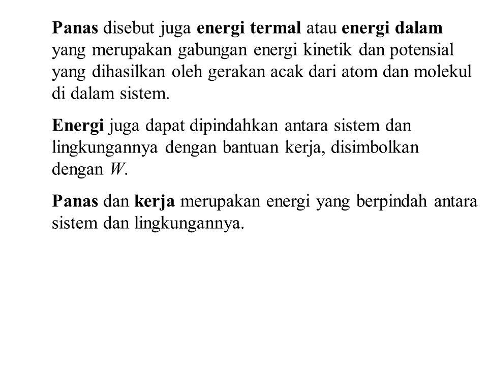 Panas disebut juga energi termal atau energi dalam yang merupakan gabungan energi kinetik dan potensial yang dihasilkan oleh gerakan acak dari atom dan molekul di dalam sistem.