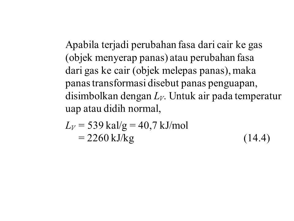 Apabila terjadi perubahan fasa dari cair ke gas (objek menyerap panas) atau perubahan fasa