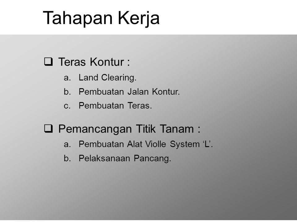 Tahapan Kerja Teras Kontur : Pemancangan Titik Tanam : Land Clearing.