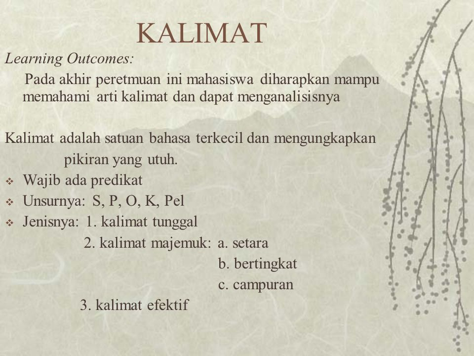 KALIMAT Learning Outcomes: