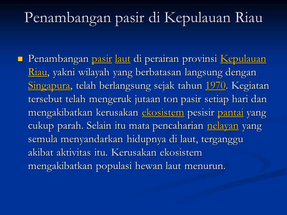 Penambangan pasir di Kepulauan Riau