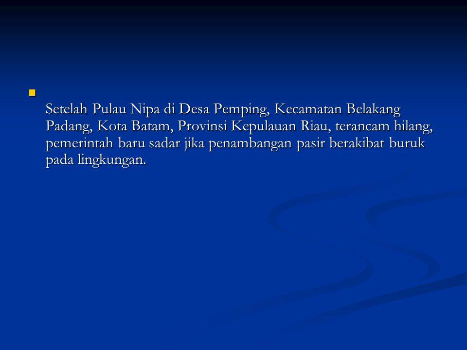Setelah Pulau Nipa di Desa Pemping, Kecamatan Belakang Padang, Kota Batam, Provinsi Kepulauan Riau, terancam hilang, pemerintah baru sadar jika penambangan pasir berakibat buruk pada lingkungan.