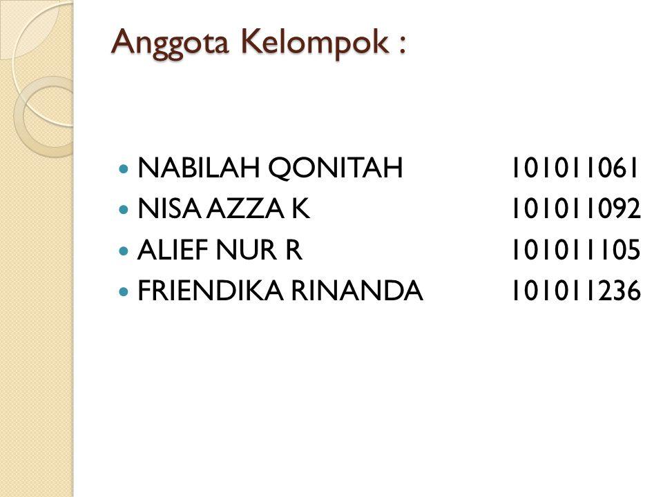 Anggota Kelompok : NABILAH QONITAH 101011061 NISA AZZA K 101011092