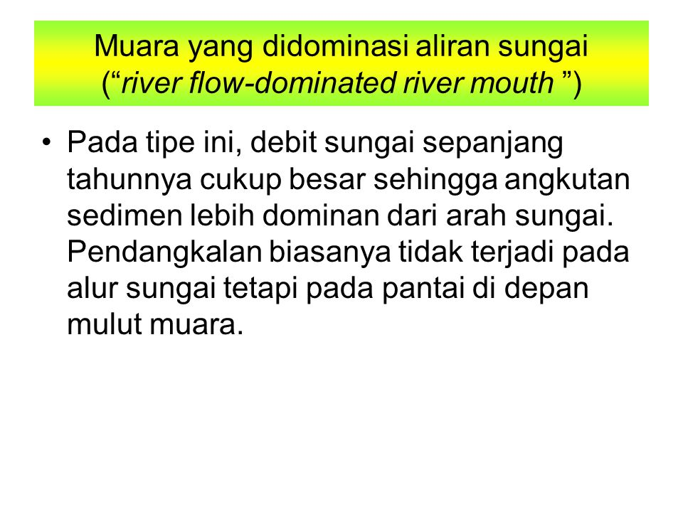Muara yang didominasi aliran sungai ( river flow-dominated river mouth )