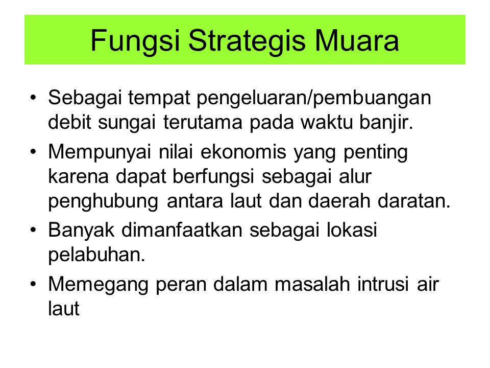 Fungsi Strategis Muara