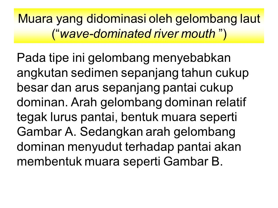 Muara yang didominasi oleh gelombang laut ( wave-dominated river mouth )