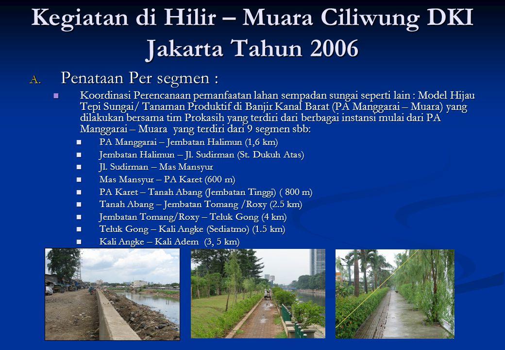 Kegiatan di Hilir – Muara Ciliwung DKI Jakarta Tahun 2006