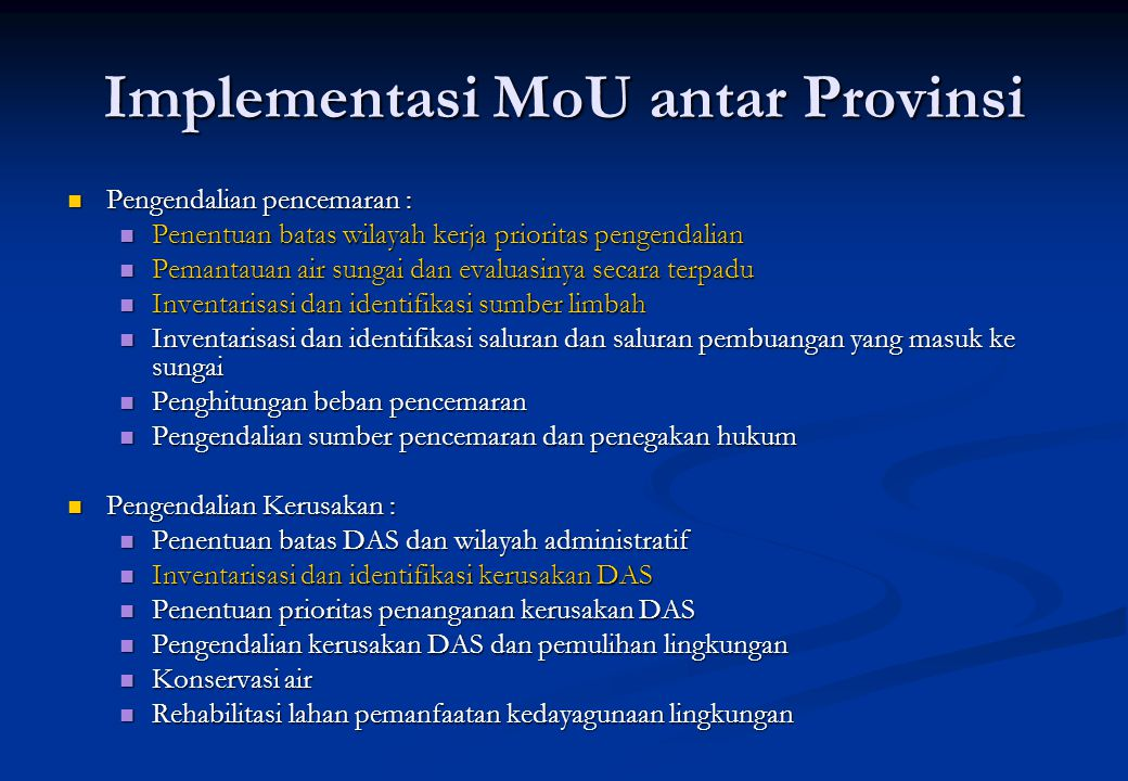 Implementasi MoU antar Provinsi