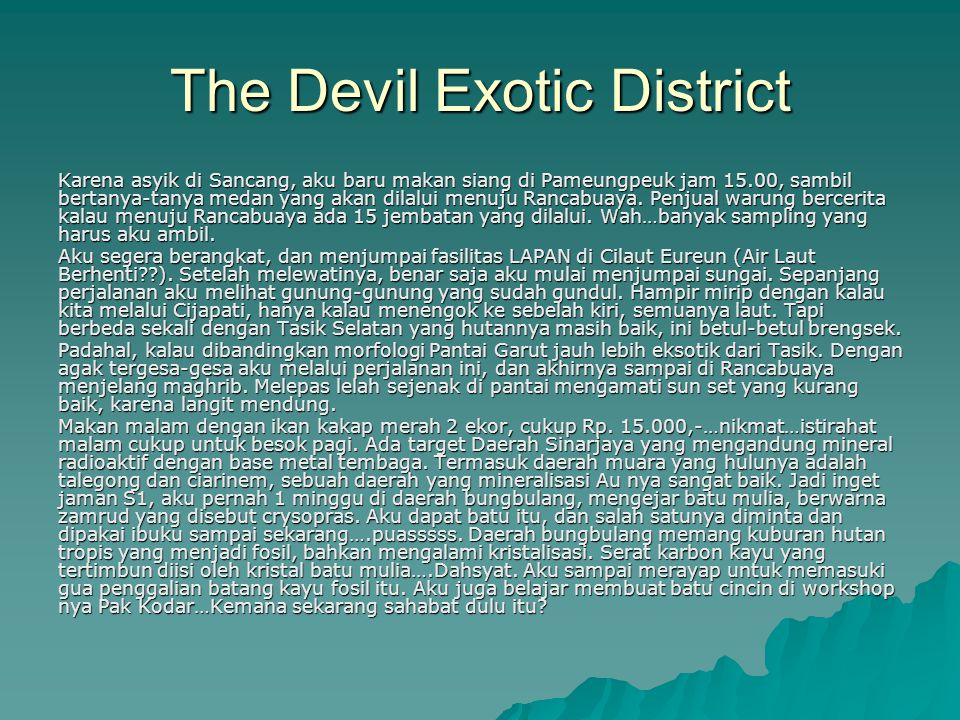 The Devil Exotic District