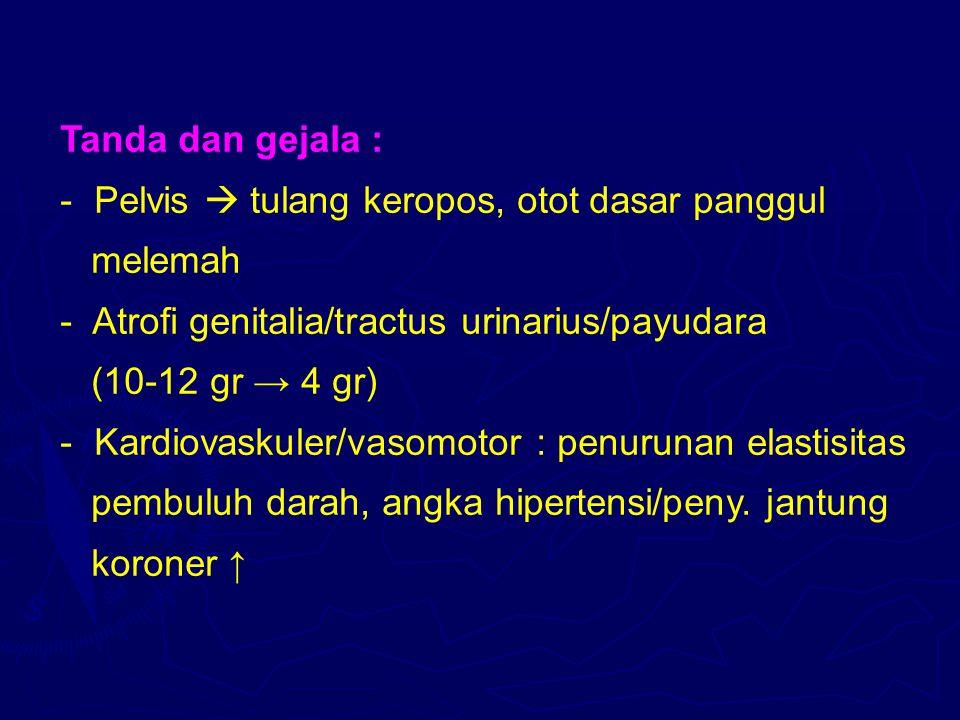 Tanda dan gejala : Pelvis  tulang keropos, otot dasar panggul. melemah. Atrofi genitalia/tractus urinarius/payudara.