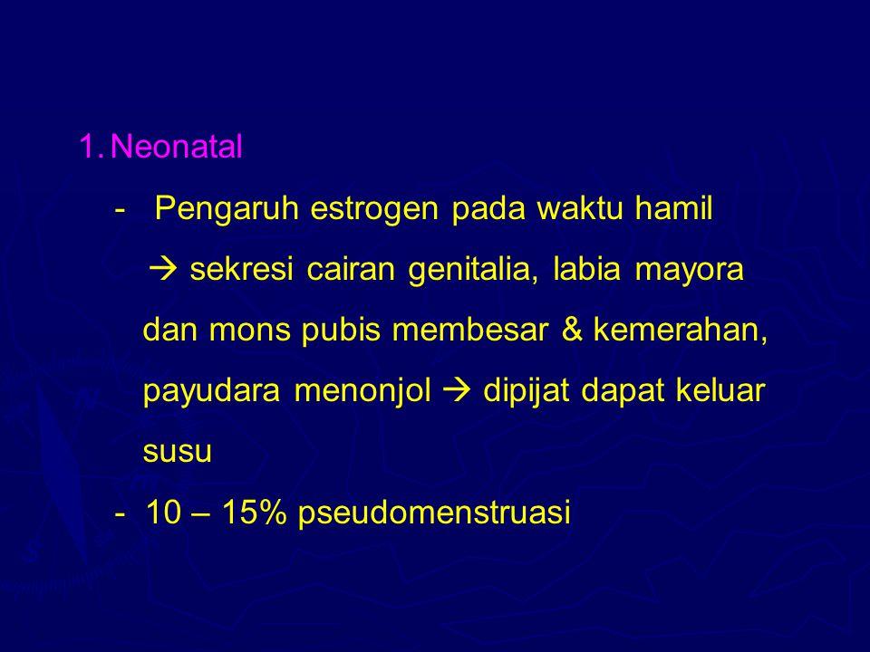 Neonatal - Pengaruh estrogen pada waktu hamil.  sekresi cairan genitalia, labia mayora. dan mons pubis membesar & kemerahan,