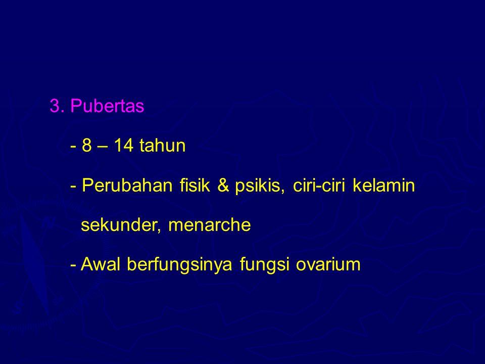 3. Pubertas - 8 – 14 tahun. - Perubahan fisik & psikis, ciri-ciri kelamin.