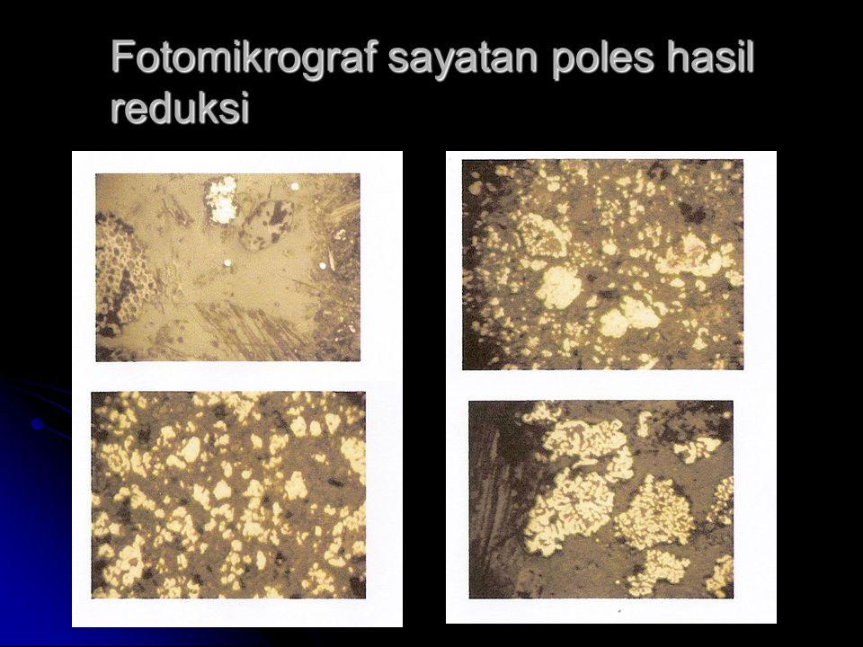 Fotomikrograf sayatan poles hasil reduksi