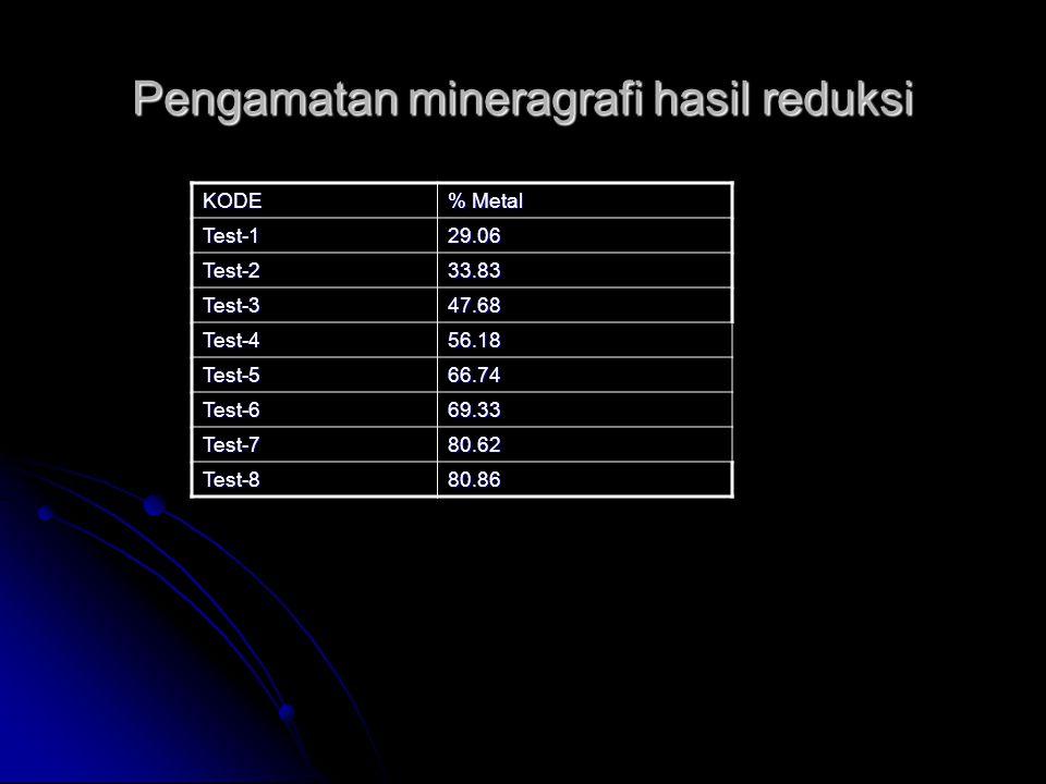 Pengamatan mineragrafi hasil reduksi