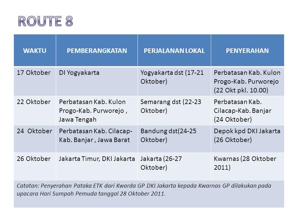 ROUTE 8 WAKTU PEMBERANGKATAN PERJALANAN LOKAL PENYERAHAN 17 Oktober