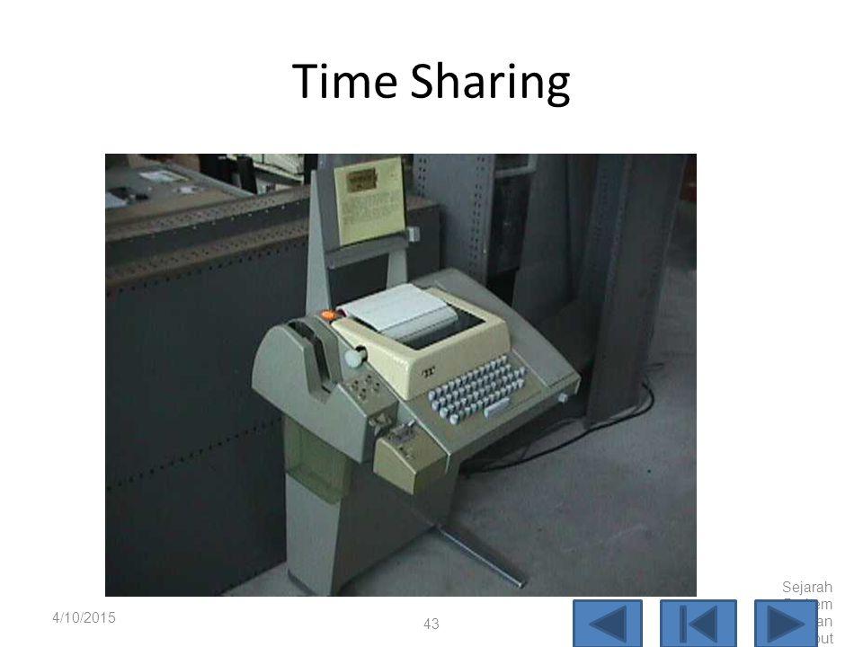Time Sharing 4/10/2017 Sejarah Perkembangan Komputer