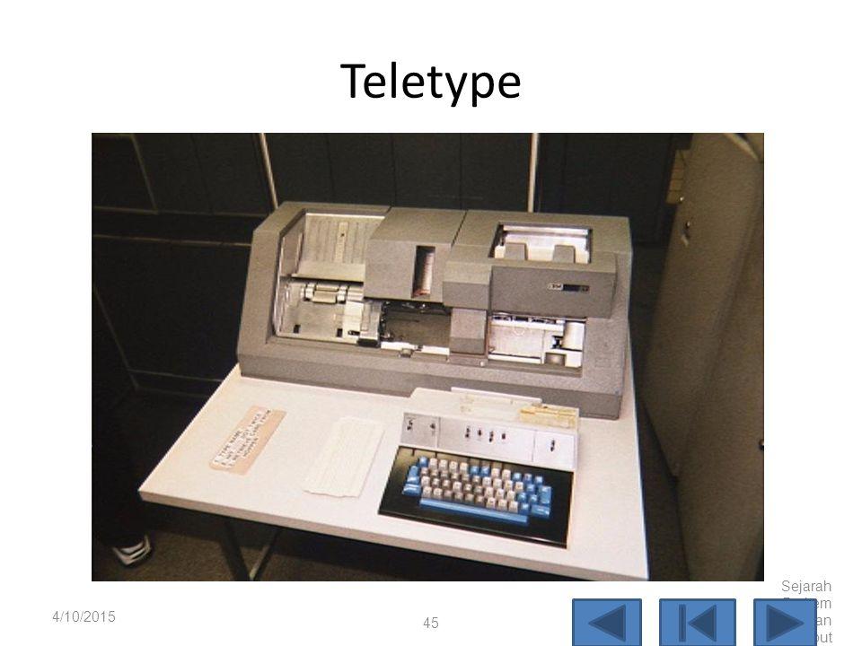 Teletype 4/10/2017 Sejarah Perkembangan Komputer