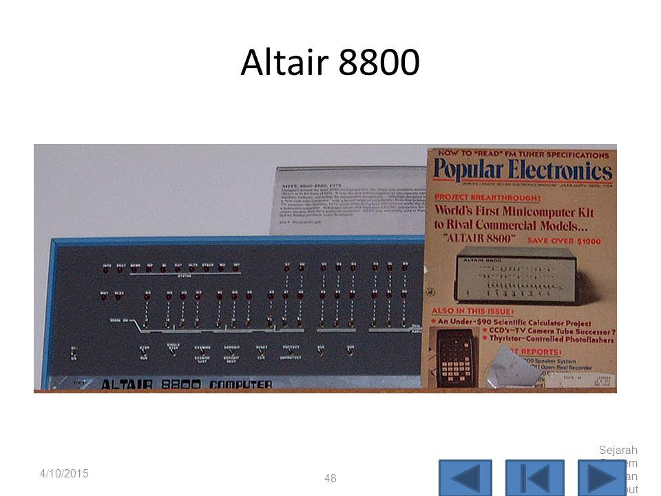 Altair 8800 4/10/2017 Sejarah Perkembangan Komputer
