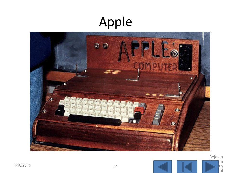 Apple 4/10/2017 Sejarah Perkembangan Komputer