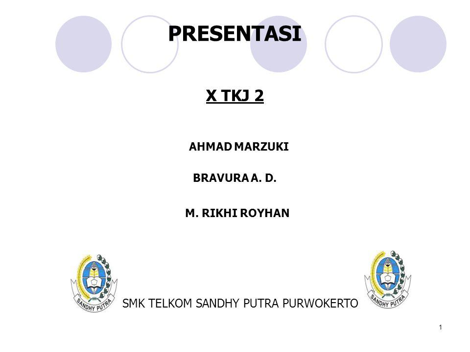 PRESENTASI X TKJ 2 SMK TELKOM SANDHY PUTRA PURWOKERTO AHMAD MARZUKI