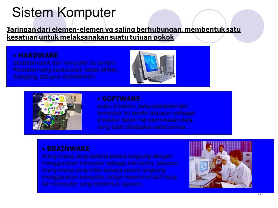 Sistem Komputer Jaringan dari elemen-elemen yg saling berhubungan, membentuk satu kesatuan untuk melaksanakan suatu tujuan pokok.