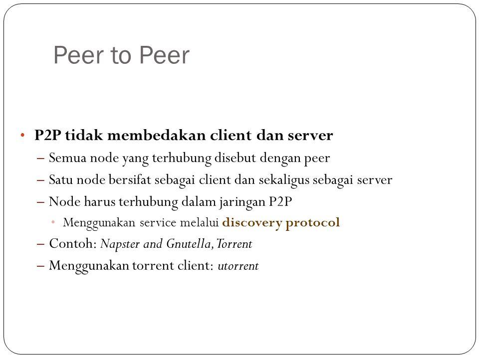 Peer to Peer P2P tidak membedakan client dan server