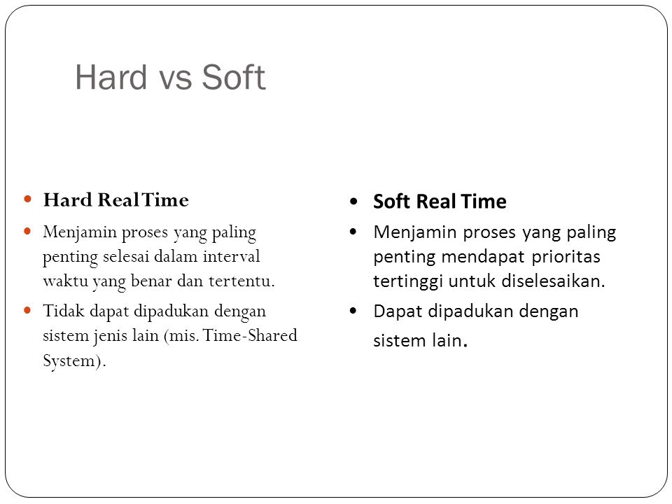 Hard vs Soft Hard Real Time Soft Real Time