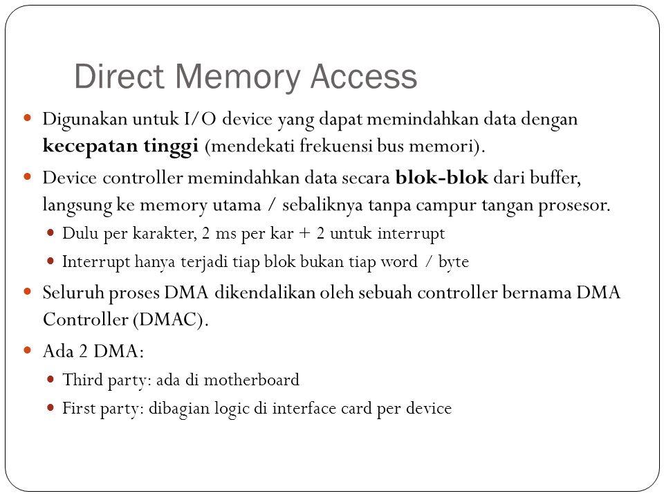 Direct Memory Access Digunakan untuk I/O device yang dapat memindahkan data dengan kecepatan tinggi (mendekati frekuensi bus memori).