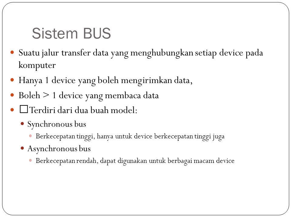 Sistem BUS Suatu jalur transfer data yang menghubungkan setiap device pada komputer. Hanya 1 device yang boleh mengirimkan data,