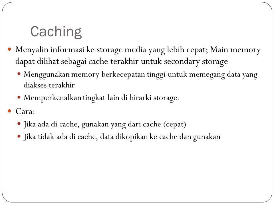 Caching Menyalin informasi ke storage media yang lebih cepat; Main memory dapat dilihat sebagai cache terakhir untuk secondary storage.