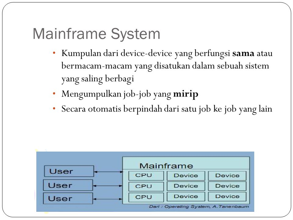 Mainframe System Kumpulan dari device-device yang berfungsi sama atau bermacam-macam yang disatukan dalam sebuah sistem yang saling berbagi.