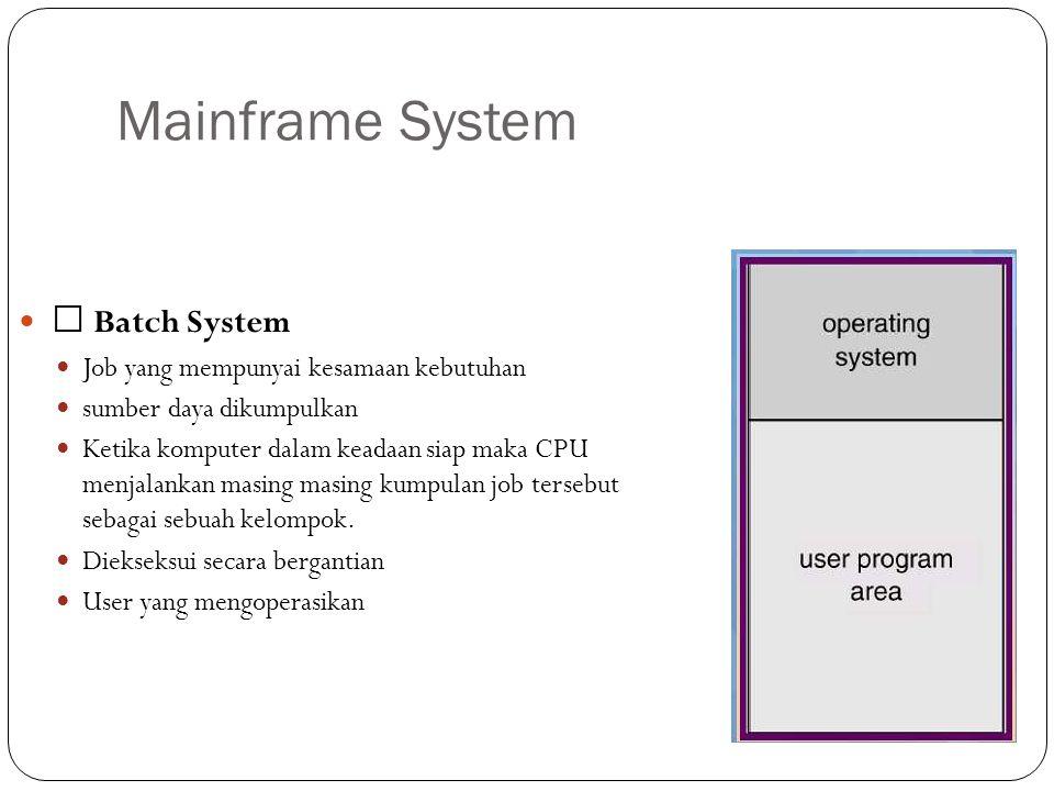 Mainframe System  Batch System Job yang mempunyai kesamaan kebutuhan