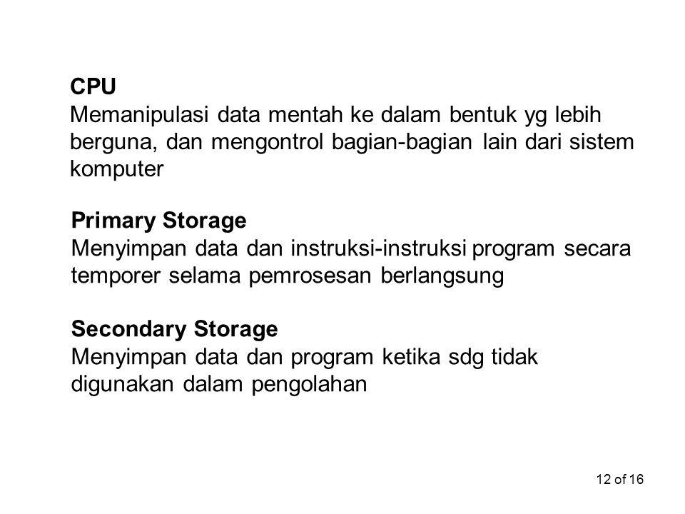 CPU Memanipulasi data mentah ke dalam bentuk yg lebih berguna, dan mengontrol bagian-bagian lain dari sistem komputer.