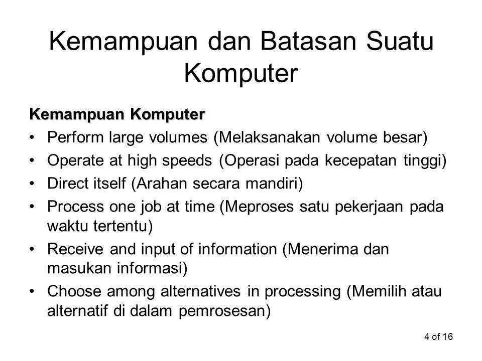 Kemampuan dan Batasan Suatu Komputer