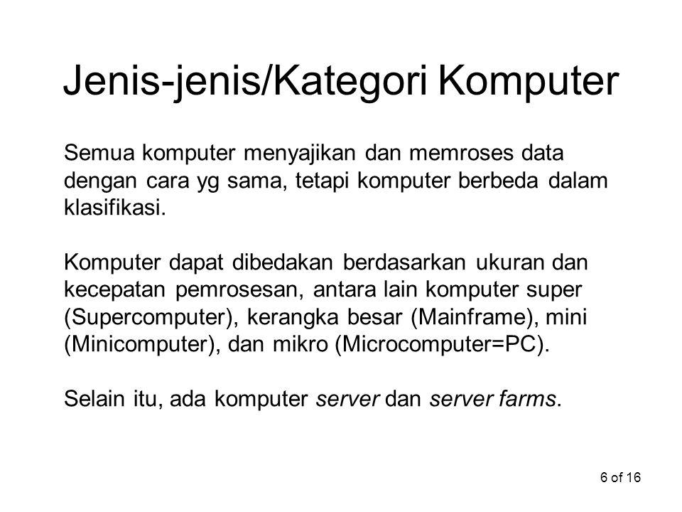 Jenis-jenis/Kategori Komputer