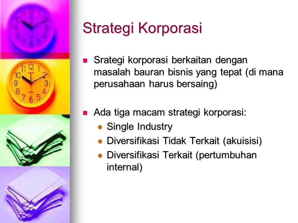 Strategi Korporasi Srategi korporasi berkaitan dengan masalah bauran bisnis yang tepat (di mana perusahaan harus bersaing)