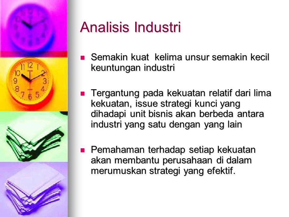 Analisis Industri Semakin kuat kelima unsur semakin kecil keuntungan industri.