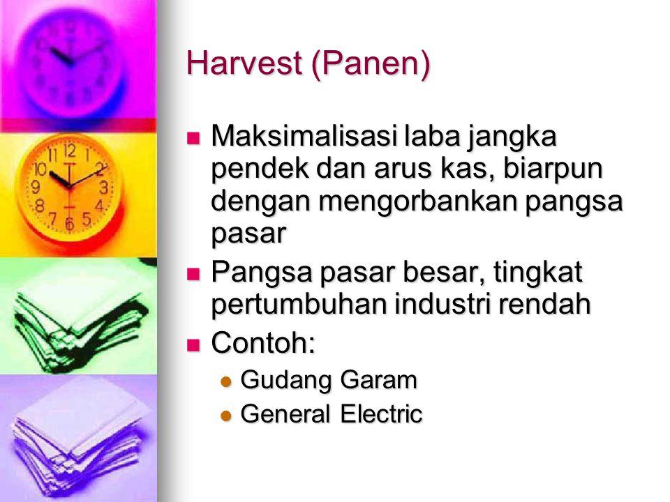 Harvest (Panen) Maksimalisasi laba jangka pendek dan arus kas, biarpun dengan mengorbankan pangsa pasar.
