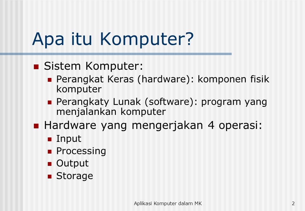 Aplikasi Komputer dalam MK